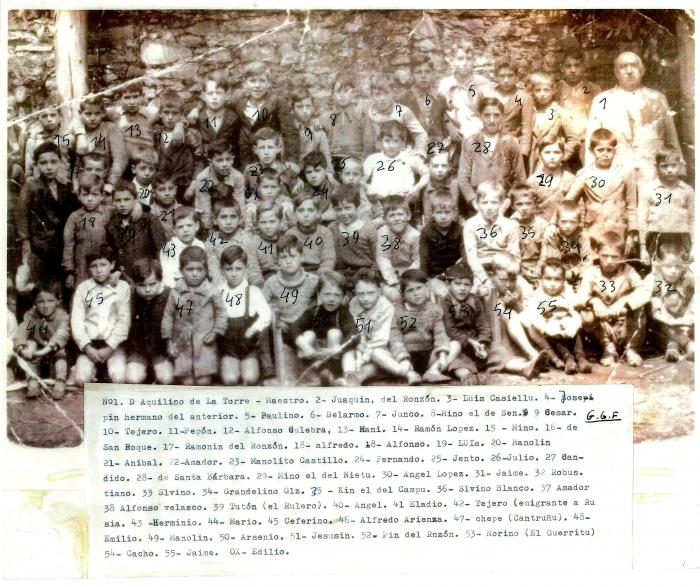 Grupo de niños ante la escuela de Blimea con Don Aquilino de la Torre