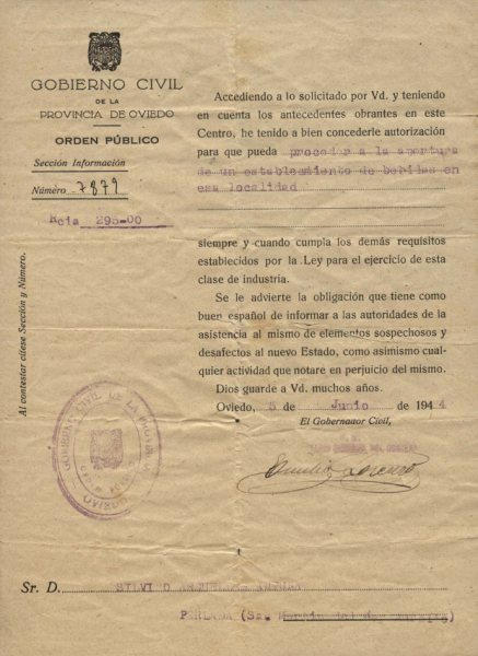 Permiso de bebidas del Gobierno Civil (1944)