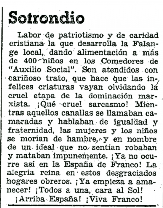 Comedores de Axuilio Social, Sotrondio 1937