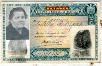 Documento Nacional de Identidad de Carmen Antuña Rodríguez
