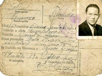 Tarjeta Provisional de Identidad de Ricardo Fanjul Felgueroso