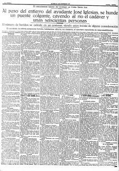 La Prensa, 22 de noviembre de 1927. Hundimiento del Puente de La Oscura